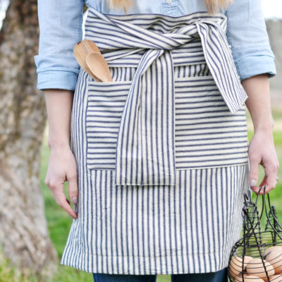French Striped Half Apron | Boxwood Avenue | Craft Collector