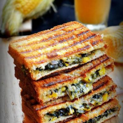 Spinach and Corn Grilled Cheese | Cook with Smile | Craft Collector